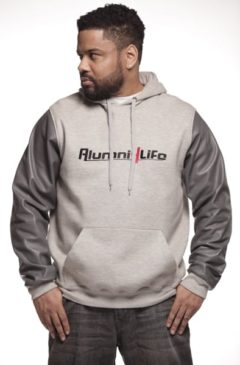 MAIN - Men Grey Leather Sleeve Hoodie - Main front